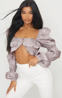 PrettyLittleThing - Mauve Satin Metallic Pleated Bardot Cropped Blouse, Purple
