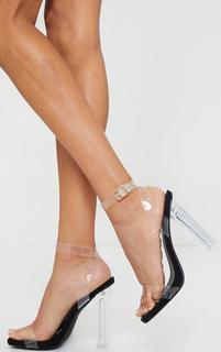 PrettyLittleThing - Black Wide Fit Clear High Block Heel Strappy Heel Sandals, Black