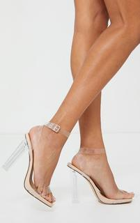 PrettyLittleThing - Nude Wide Fit Clear High Block Heel Strappy Heel Sandals, Pink