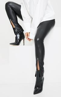 PrettyLittleThing - Black Wide Fit Mid Heel Pointed Ankle Boots, Black