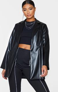 PrettyLittleThing - Black Longline Lapel Detail Faux Leather Blazer, Black