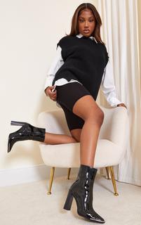 PrettyLittleThing - Black PU Metal Toe High Block Heels Ankle Boots, Black