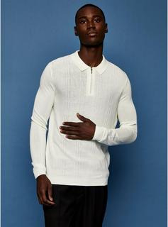 Topman - Mens Cream Ecru Zig Zag Knitted Polo, Cream