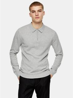 Topman - Mens Considered Light Grey Zip Knitted Polo, Grey