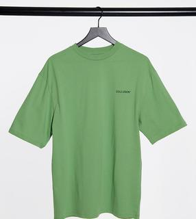 Collusion - Unisex – Oversized-T-Shirt mit Logodruck in Grün
