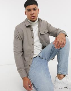 ASOS DESIGN - Hemdjacke aus Wollmischgewebe in Stone-Beige