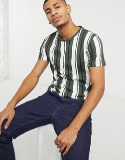 Burton Menswear - T-Shirt mit vertikalen Streifen in Khaki-Grün
