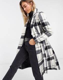 Liquorish - Weiß karierter, strukturierter Mantel mit geradem Schnitt