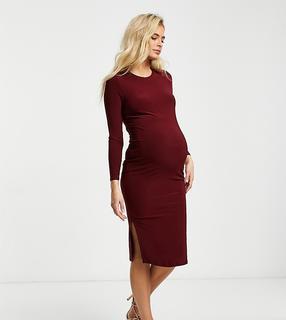Flounce London Maternity - Flounce Maternity – Langärmliges Basic-Umstands-Midikleid aus Jersey in Burgunderrot-Violett