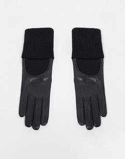 ASOS DESIGN - Schwarze Lederhandschuhe mit langen Strickbündchen und Touchscreen-Funktion