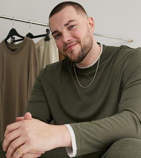 ASOS DESIGN - Plus – Langärmliges, zweilagiges T-Shirt mit lockerem Schnitt in verwaschenem Khaki-Mehrfarbig