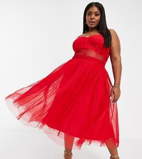 Lace & Beads Plus - Exklusives, mittellanges Ballkleid mit durchsichtiger Organza-Taille in roter Korsett-Optik