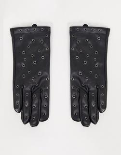 My Accessories - London – Handschuhe mit Ösen aus Kunstleder in Schwarz