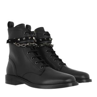 Valentino - Boots - Rockstud Combat Boots Smooth Leather Black - in schwarz - für Damen