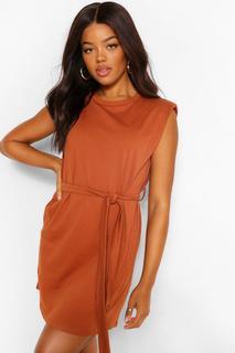 boohoo - Womens Shoulder Pad Tie Belt Jersey T Shirt Dress - Tan - 38, Tan
