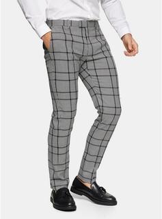Topman - Mens Black Windowpane Check Skinny Fit Suit Trousers, Black