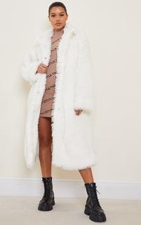 PrettyLittleThing - Cream Long Shaggy Faux Fur Oversized Maxi Coat, White