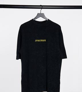 Collusion - Unisex – Oversize-T-Shirt aus Pikee in Grellschwarz mit Waschung und Print