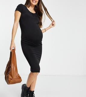 Flounce London Maternity - Flounce Maternity – Basic-Midikleid aus Jersey mit Flügelärmeln in Schwarz