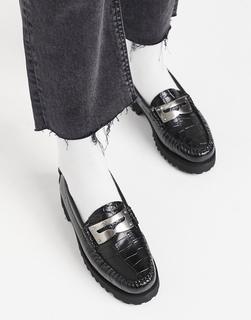 G.H. Bass - G H Bass - Weejun Penny - Schwarze, flache Loafer mit Plateausohle in Kroko-schwarz