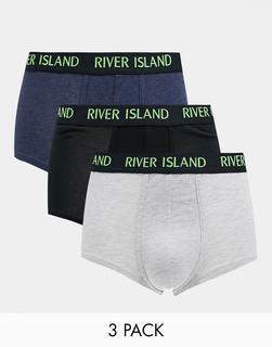 River Island - 3er-Set Hüftslips in Grau