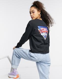 Tommy Jeans - Langärmliges T-Shirt mit Logo hinten in Schwarz