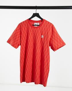 adidas Originals - T-Shirt in Rot mit Monogramm-Aufdruck