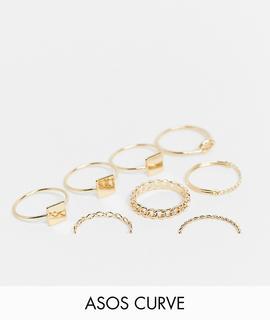 ASOS Curve - ASOS DESIGN Curve – Goldfarbene Ring mit verschiedenen Designs im7er-Pack