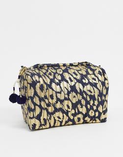 Accessorize - Make-up-Tasche mit metallischem Leopardenmuster-Mehrfarbig