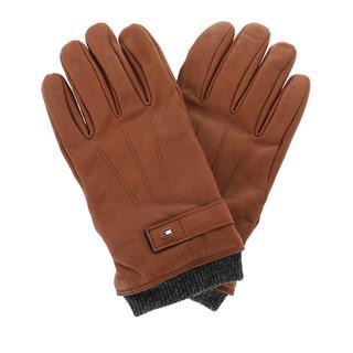 TOMMY HILFIGER - Handschuhe - Elevated Flag Leather Mix Gloves Cognac - in cognac - für Damen