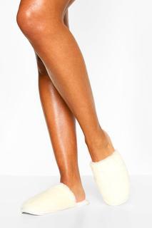boohoo - Womens Flauschige Slipper - Creme - 31, Creme