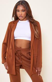 PrettyLittleThing - Brown Scuba Longline Blazer, Brown