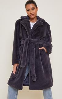 PrettyLittleThing - Charcoal Grey Soft Plush Faux Fur Belted Midi Coat, Charcoal Grey