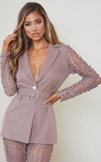 PrettyLittleThing - Mushroom Woven Lace Sleeve Belt Blazer, Mushroom