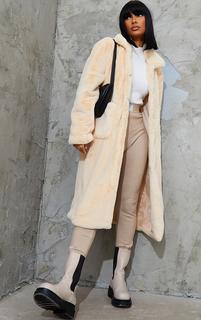 PrettyLittleThing - Cream Soft Faux Fur Maxi Pu Belted Midi Coat, White