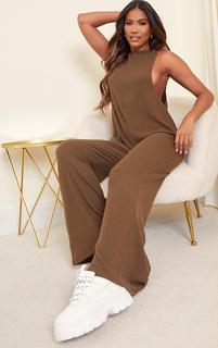 PrettyLittleThing - Khaki Brushed Rib Oversized Low Armhole Jumpsuit, Green
