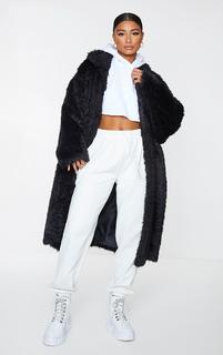 PrettyLittleThing - Black Long Shaggy Faux Fur Oversized Maxi Coat, Black
