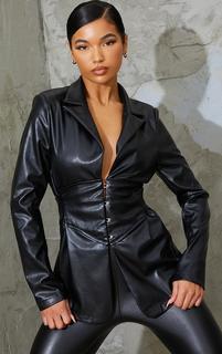 PrettyLittleThing - Black PU Corset Blazer, Black
