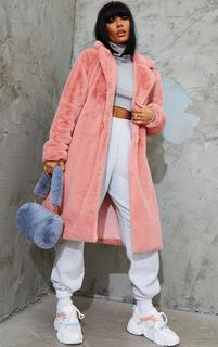 PrettyLittleThing - Rose Soft Plush Faux Fur Belted Midi Coat, Pink