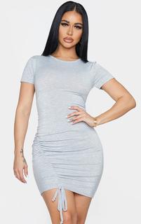 PrettyLittleThing - Shape Grey Jersey Short Sleeve Ruched Bodycon Dress, Grey