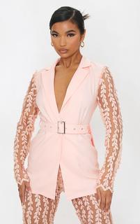 PrettyLittleThing - Light Pink Woven Lace Sleeve Belt Blazer, Light Pink