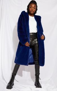 PrettyLittleThing - Tall Blue Faux Fur Longline Coat, Blue