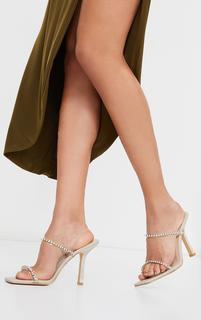 PrettyLittleThing - Nude Wide Fit Diamante Twin Strap Mule Heels, Pink