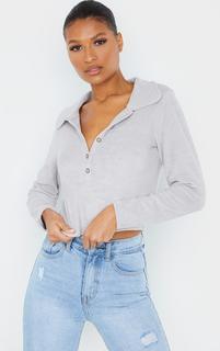 PrettyLittleThing - Grey Towelling Popper Long Sleeve Crop Polo Shirt, Grey