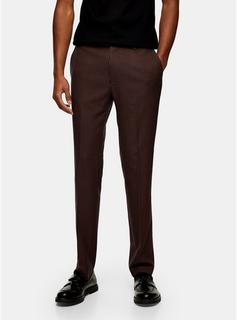 Topman - Mens Brown Skinny Fit Suit Trousers, Brown