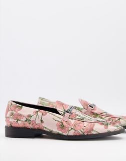 ASOS DESIGN - Loafer mit mehrfarbigem Blumenmuster und Trensendesign-Rosa