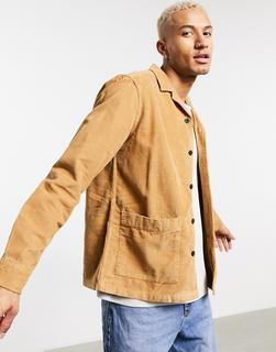 ASOS DESIGN - Hemdjacke aus Cord in Tabakbraun