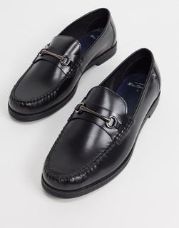 Ben Sherman - Schwarze Leder-Loafers mit Metallsteg
