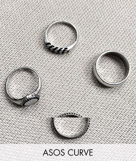 ASOS Curve - ASOS DESIGN Curve – 4er-Pack Ringe im Siegel- und Kettendesign aus poliertem Silber