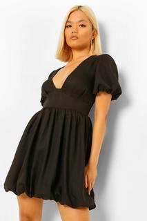 boohoo - Womens Petite Puff Ball Sleeve And Hem Skater Dress - Black - 30, Black
